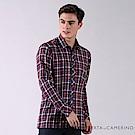 ROBERTA諾貝達 台灣製 進口素材 純棉格紋長袖厚襯衫 深紅