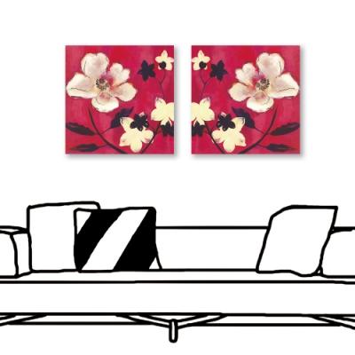 24mama掛畫-二聯式 紅色花卉 油畫風無框畫 30X30cm-映襯