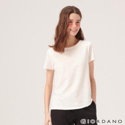 GIORDANO 女裝圓領竹節棉寬版T恤-11 皎雪