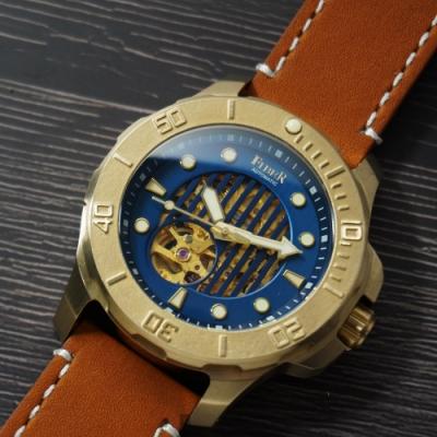 FIBER 青銅錶 海洋潛將青銅特別版-直紋鏤空藍/43.7mm
