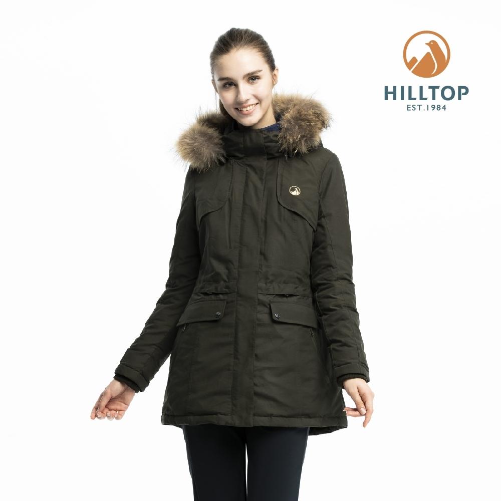 【hilltop山頂鳥】女款超潑水保暖蓄熱羽絨短大衣PF22XF04ECM0墨綠