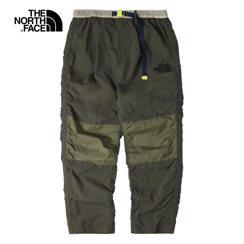 The North Face北面男款綠色拼接撞色休閒褲 5AW221L