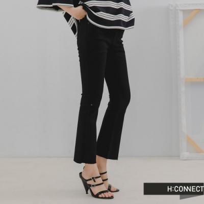 H:CONNECT 韓國品牌 女裝 -基本Boot Cut微喇叭牛仔褲-黑色