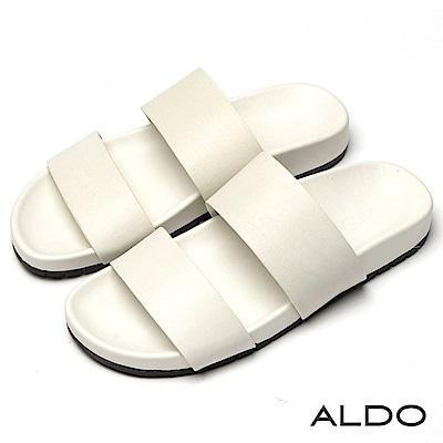 ALDO 簡約白色真皮鞋面寬版鏤空厚底懶人涼拖鞋~清新白色