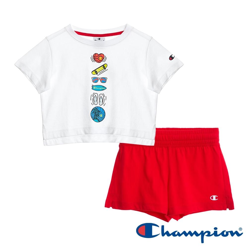 Champion EU童短袖套裝 白x紅