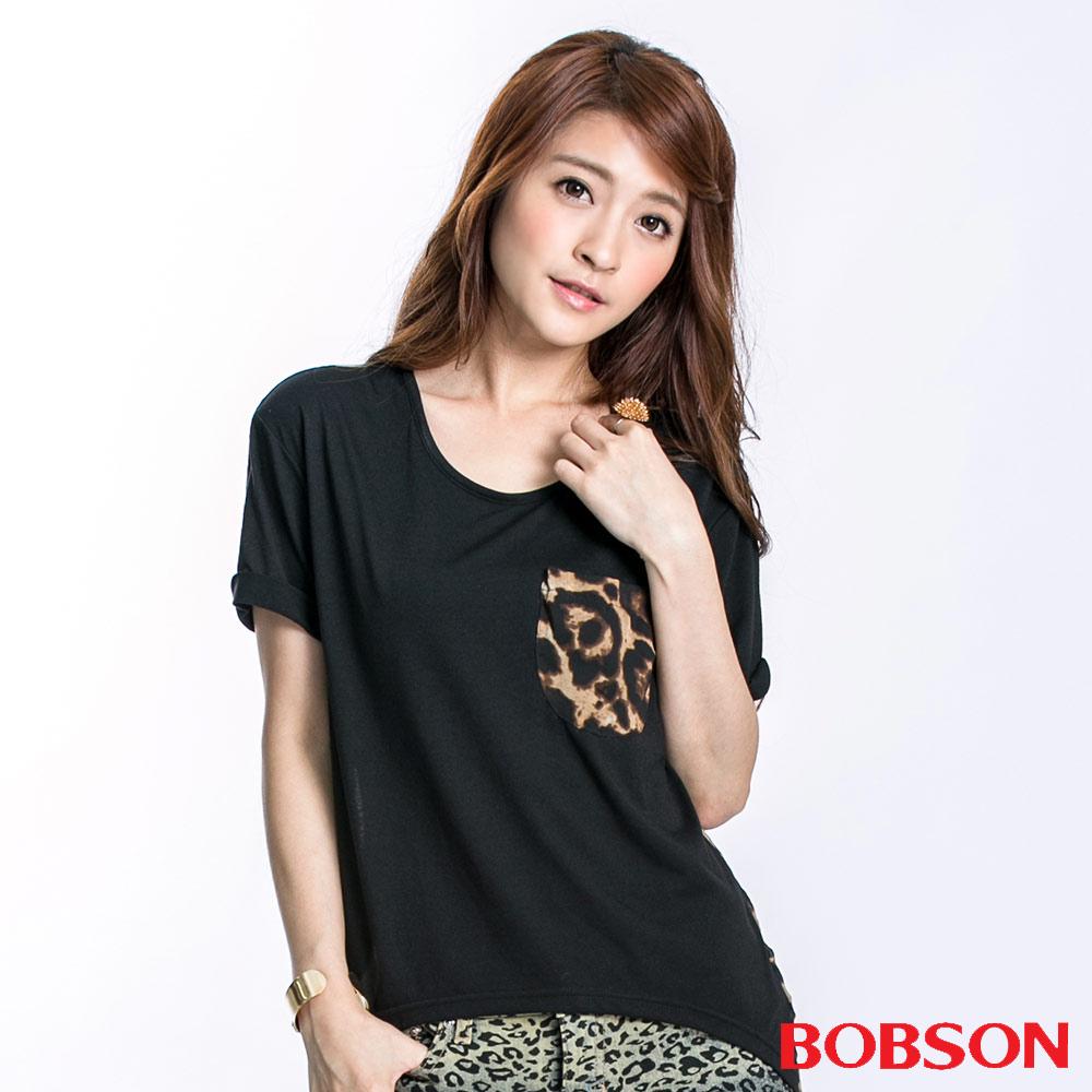 BOBSON 女款雪紡豹紋短袖上衣(黑23128-88)