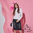 Hana+花木馬 時尚刷色牛仔側抓摺後開岔顯瘦膝上鉛筆造型直裙-黑(共2色)