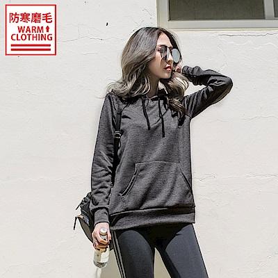 台灣製造~吸濕排汗內磨毛花紗連帽運動上衣-OB大尺碼