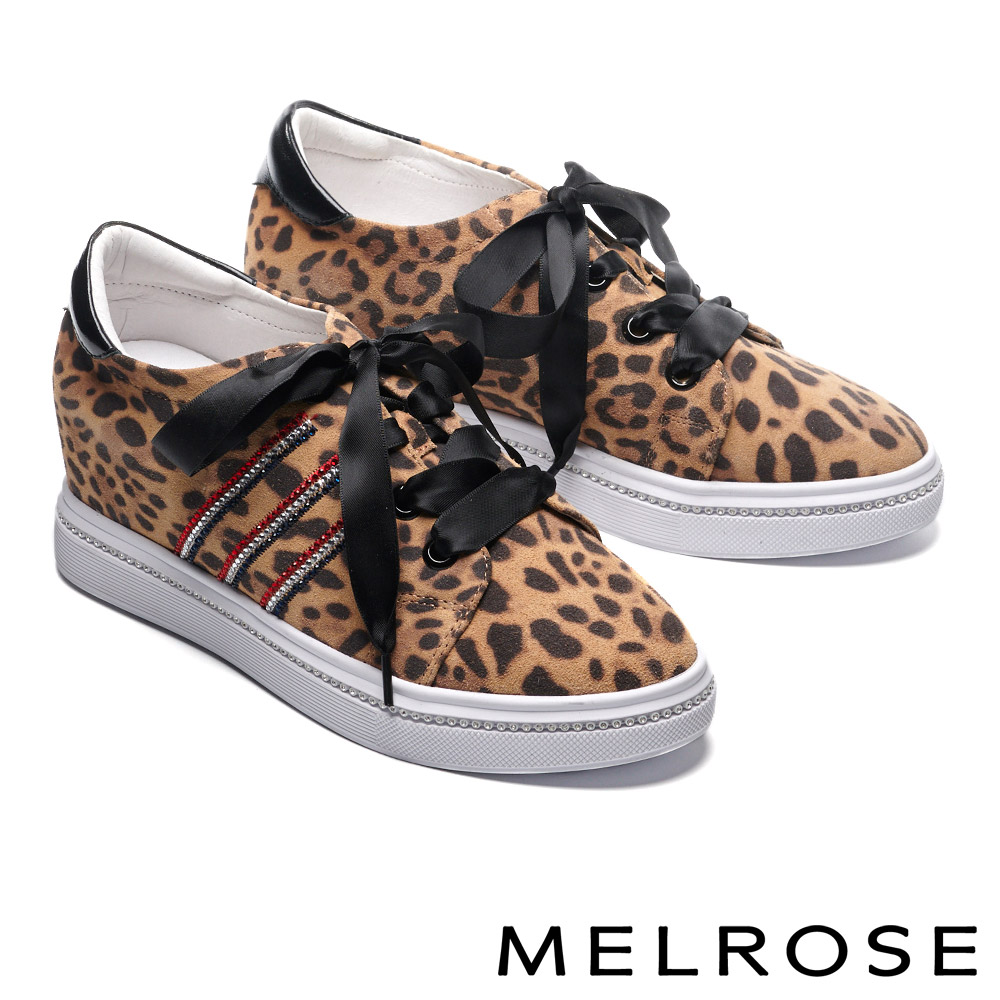 休閒鞋 MELROSE 時尚潮感電繡晶鑽緞布帶全真皮內增高休閒鞋-豹紋