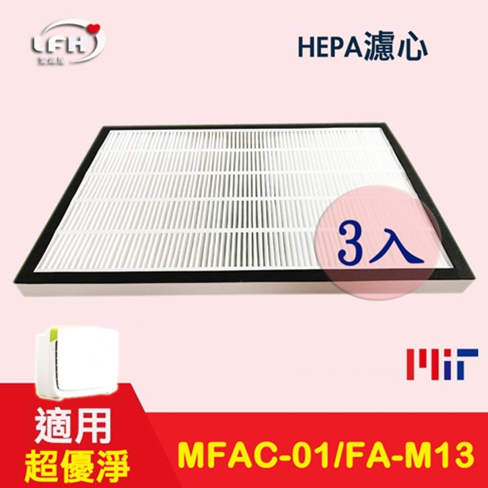 LFH HEPA空氣清淨機濾網 3入組 適用:3M 淨呼吸超優淨 MFAC-01F/FA-M13