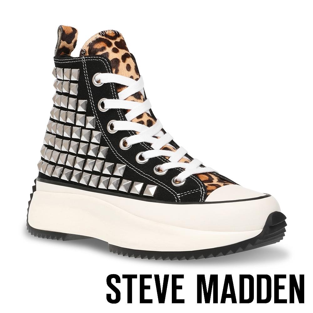 STEVE-MADDEN-SHARK 經典潮流款 厚底休閒帆布鞋-豹紋黑