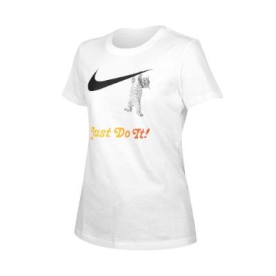 NIKE 女短袖T恤-慢跑 休閒 短袖上衣 純棉 貓 DA2481-100 白黑橘
