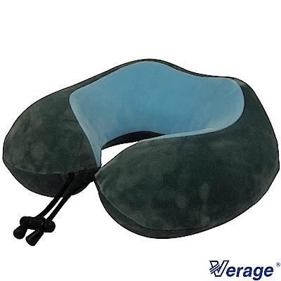 Verage 雙色質感記憶按摩頸枕 (湖藍/灰)