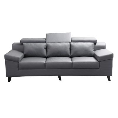 MUNA 3094型灰色貓抓皮三人座沙發 222X92X90cm