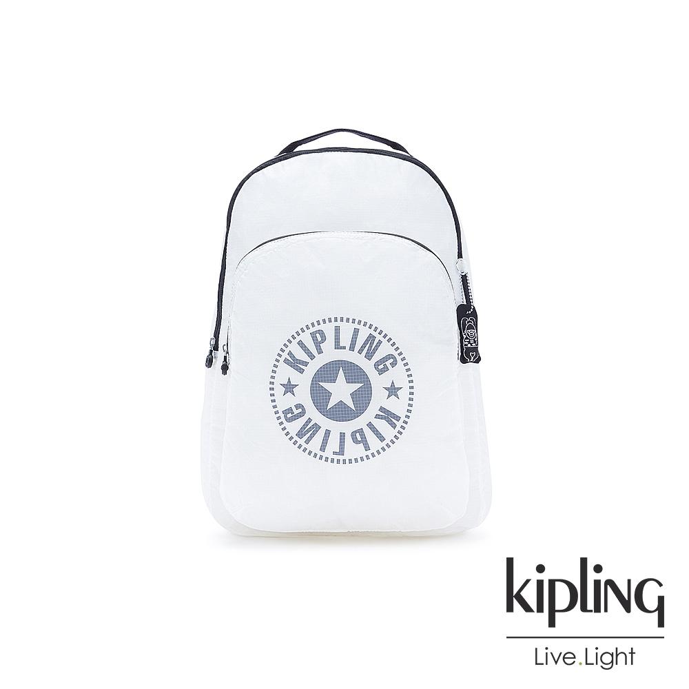 Kipling 純淨清澈白好收納後背包-BACKPACK