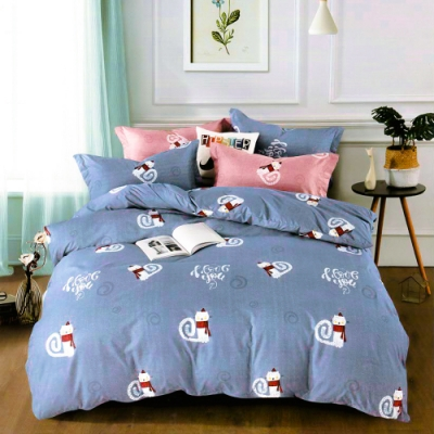 A-ONE 雪紡棉 單人床包/枕套 二件組-旋律-藍 MIT台灣製