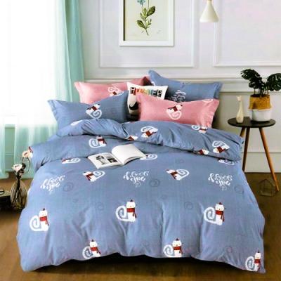 A-ONE 雪紡棉 單人床包/雙人薄被套 三件組-旋律-藍 MIT台灣製