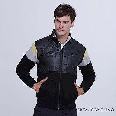 ROBERTA諾貝達 台灣製 舒適保暖 跳色純美麗諾羊毛外套  黑黃