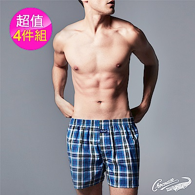 Crocodile鱷魚純棉格紋平口褲 4件組 - 格紋隨機