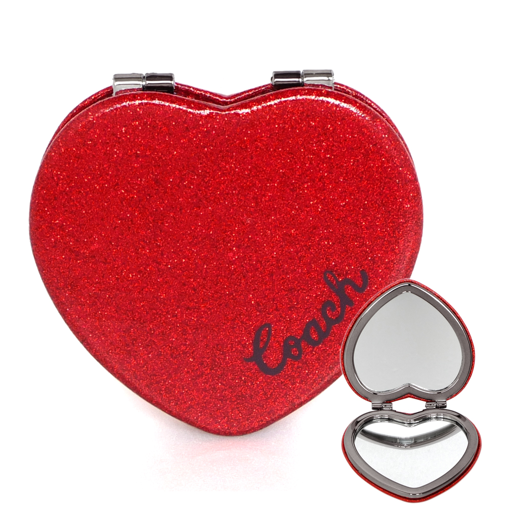 COACH紅色亮粉皮革心型雙摺隨身鏡COACH