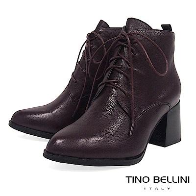 Tino Bellini時髦尖楦全真皮綁帶高跟短靴_咖紅