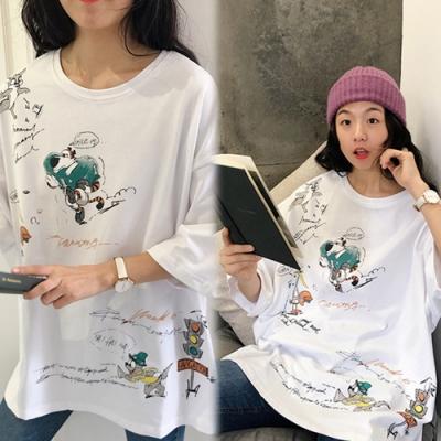 【韓國K.W.】名媛甜美卡通印花上衣-3色
