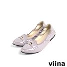viina 尖頭織帶小LOGO摺疊娃娃鞋MIT - 灰紫