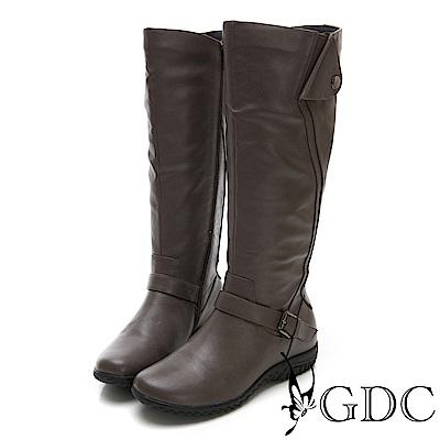 GDC-真皮帥氣英倫扣環長筒靴-卡其色