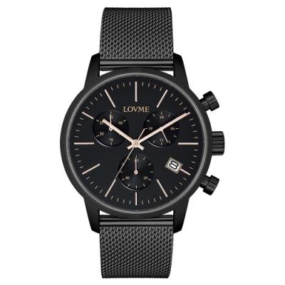 LOVME 城市獵人個性米蘭時尚手錶-IP黑x黑/43mm