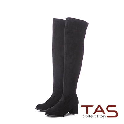 TAS經典素面絨布裝飾拉鍊粗跟膝上靴–性感黑