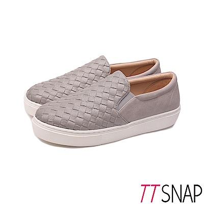 TTSNAP厚底樂福鞋-MIT素面皮革編織真皮休閒鞋 灰