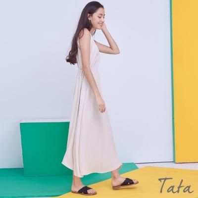 圓領抓皺綁帶無袖洋裝 共二色 TATA-F