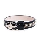 BVLGARI 寶格麗Serpenti FOREVER牛皮琺瑯單蛇頭三層鍊帶手環( 黑色)