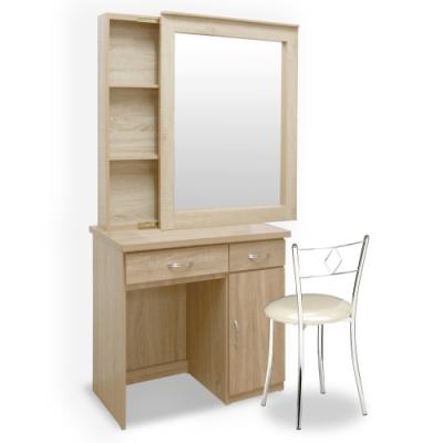 Homelike 艾凡收納化妝桌椅組-梧桐-86 x 40 x 167 公分