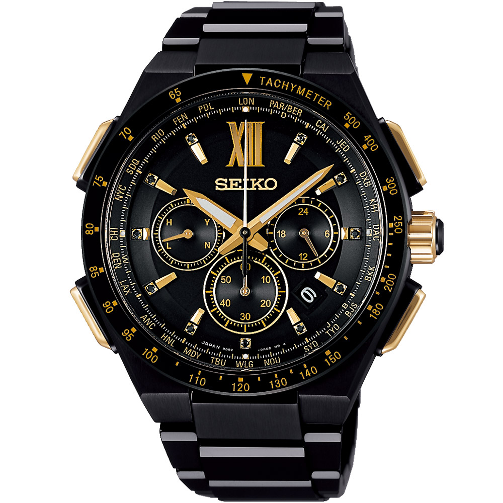 SEIKO精工 BRIGHTZ 限量太陽能電波腕錶(SAGA212J)-黑/42mm