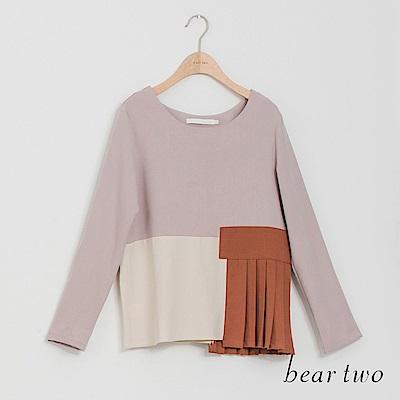 beartwo 可愛異材質拼接短版造型上衣(二色)
