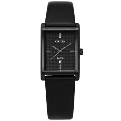 CITIZEN 典雅秀氣方形礦石強化玻璃日本機芯真皮手錶-黑色/26mm