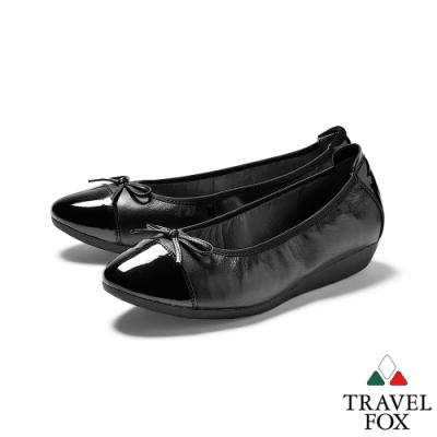 TRAVEL FOX(女) 飛來非去   雙料拼接牛皮蝴蝶結淺口淑女休閒鞋 - 黑色