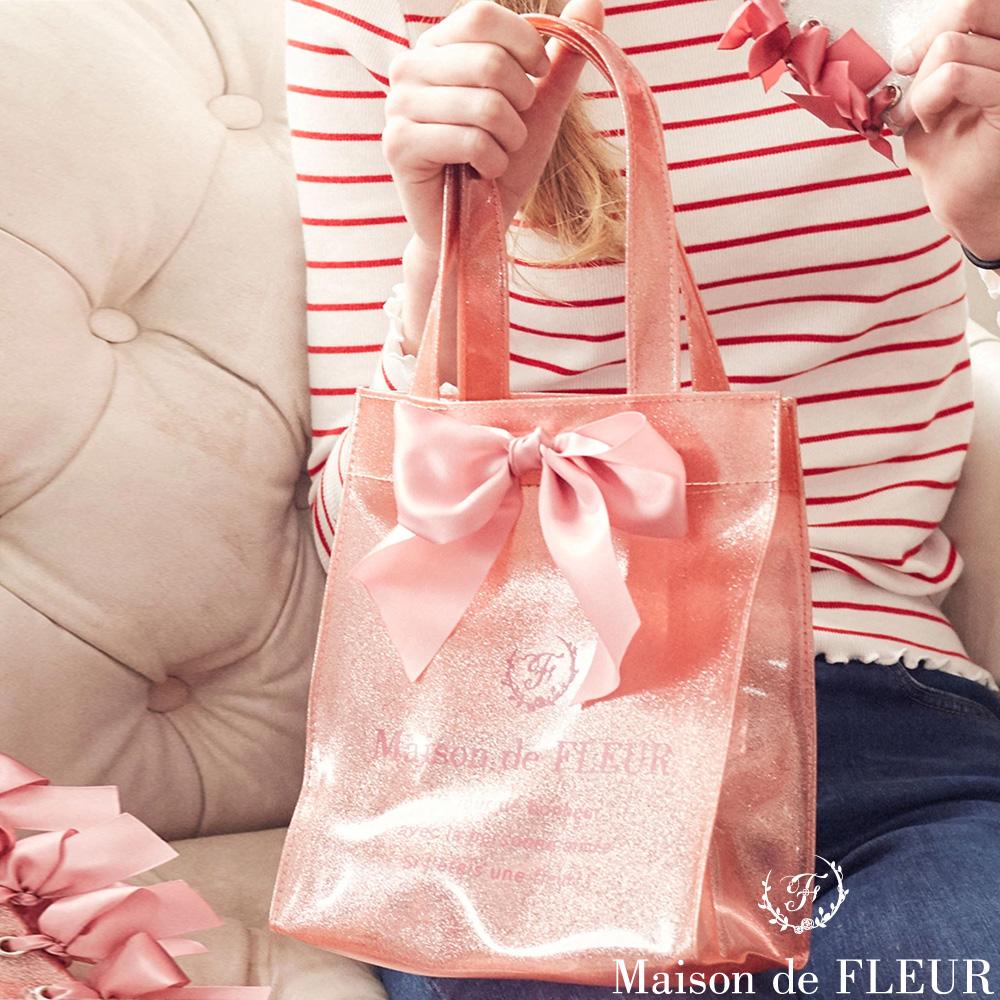 Maison de FLEUR  光澤感蝴蝶結絲帶手提包