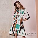 OUWEY歐薇 撞色幾何七分袖造型印花洋裝(白)