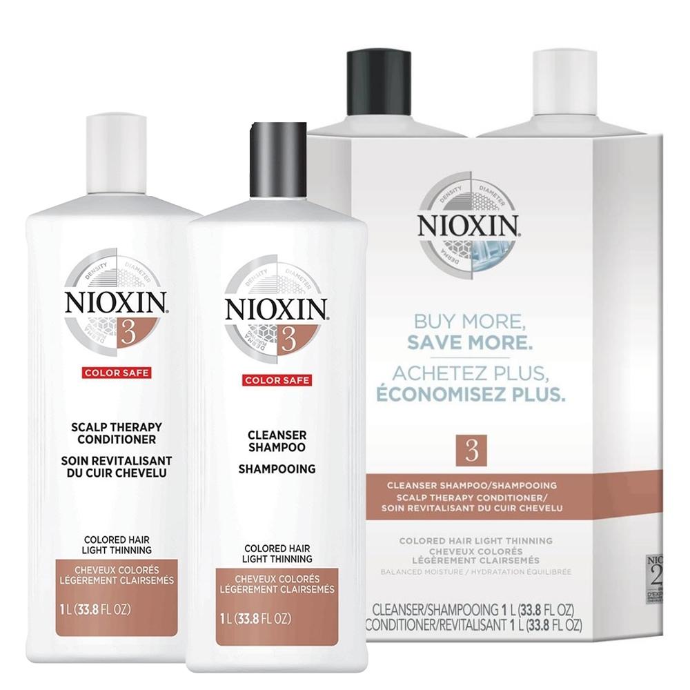 NIOXIN  3號賦活洗髮+護髮組1000ml系列(一般至偏油 染燙後軟細髮)(含壓頭)