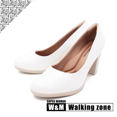WALKING ZONE SUPER WOMAN系列 圓頭素面高跟鞋 女鞋-白(另有黑.咖.卡其)