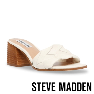 STEVE MADDEN-PHYSIQUE 編織復古粗跟涼拖鞋-白色