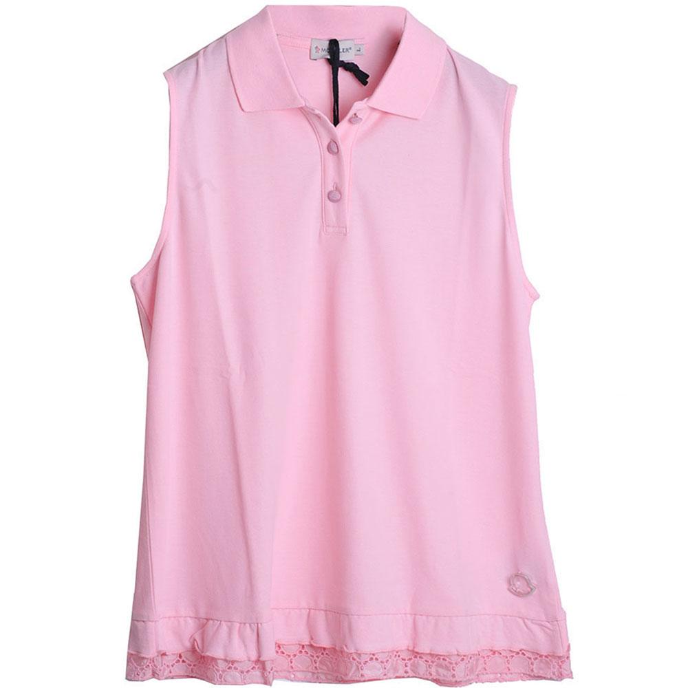 MONCLER  可愛風下擺荷葉蕾絲造型POLO衫(女款/L)