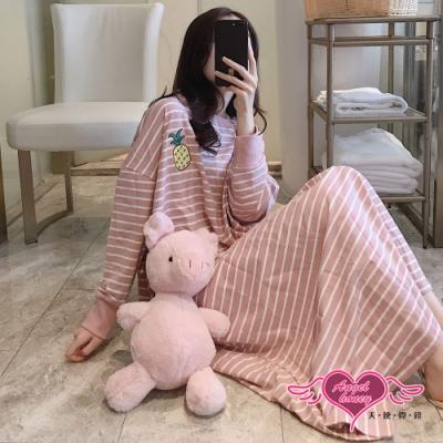 居家長袖  條紋風格 連身居家睡衣 甜美休閒居家服 (粉色F) AngelHoney天使霓裳