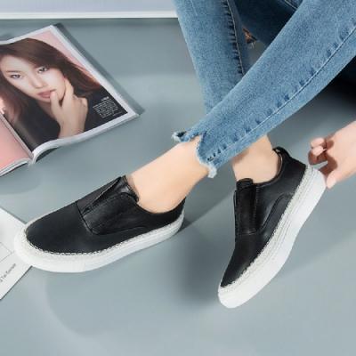 LN 現+預 拼接厚底真皮樂福鞋-3色