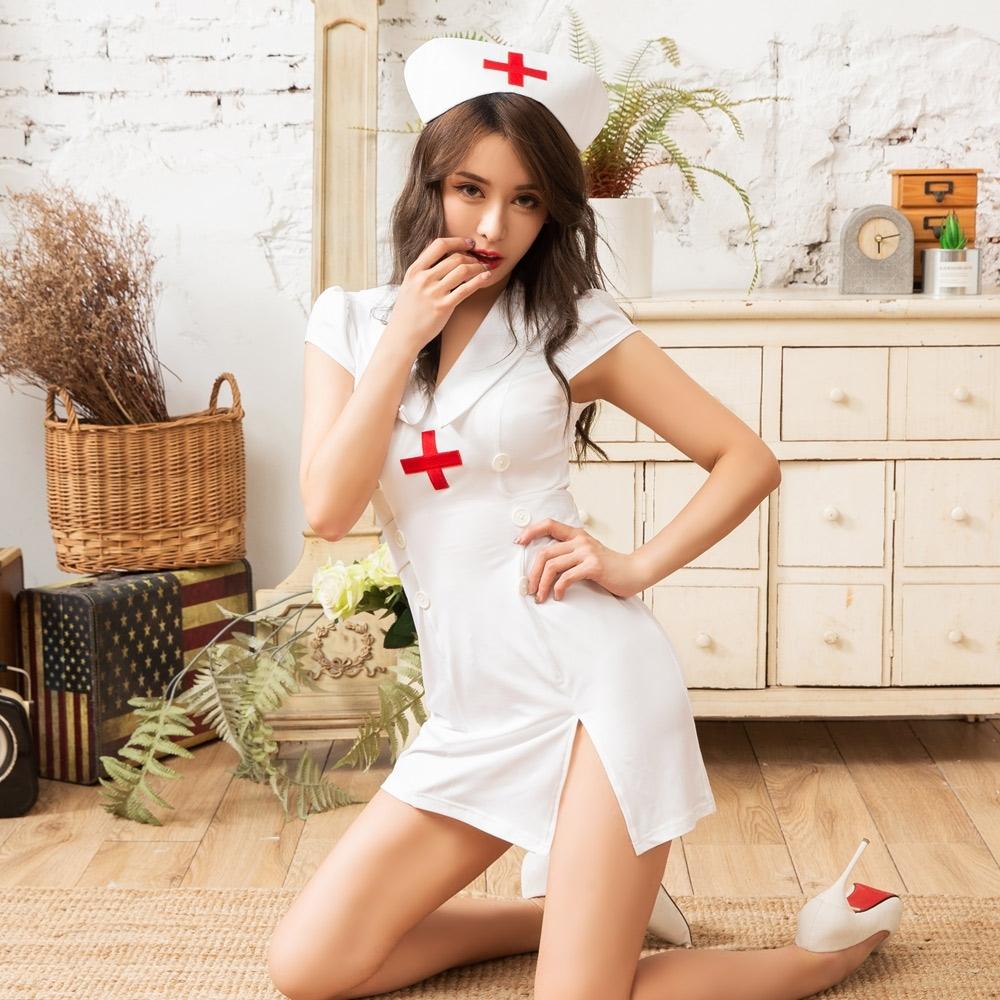 Sexy Cynthia 角色扮演 迷人小護士三件式開衩排釦連身裙丁字褲角色服-白F