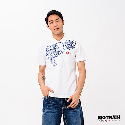 BIG TRAIN 加大霸氣唐獅POLO衫-男-白色