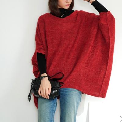 KT 刷毛織紋飛鼠袖上衣- 紅色