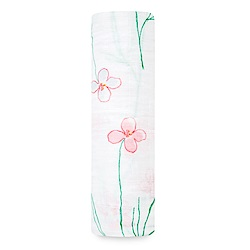美國aden+anais輕柔新生兒包巾(1入)-手繪小花系列AA8966